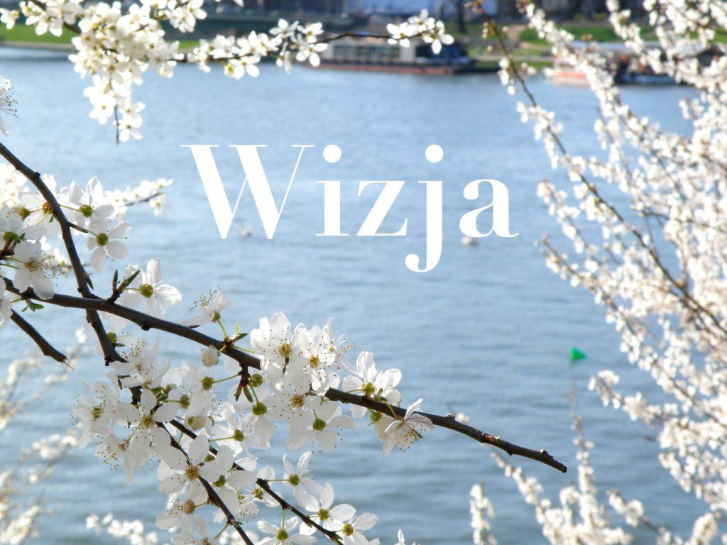 Rzeka Wisłę i białe kwiatki w Krakowie